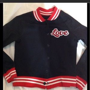 Girl's size 8 JUSTICE retro bomber LOVE in glitter